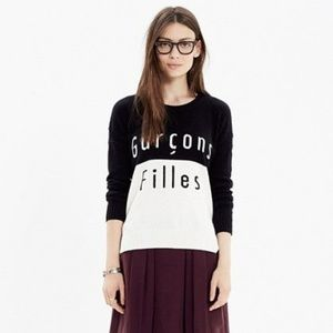 Madewell graphic black and white sweater